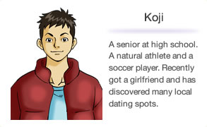 Koji A senior at high school. A natural athlete and a soccer player. Recently got a girlfriend and has discovered many local dating spots.